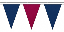 ROYAL BLUE AND CLARET TRIANGULAR BUNTING - 10m / 20m / 50m LENGTHS
